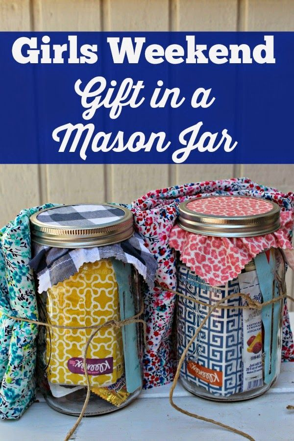 Fill a Mason jar with fun items from Dollar Tree to spoil weekend guests or for a fun getaway weekend gift!