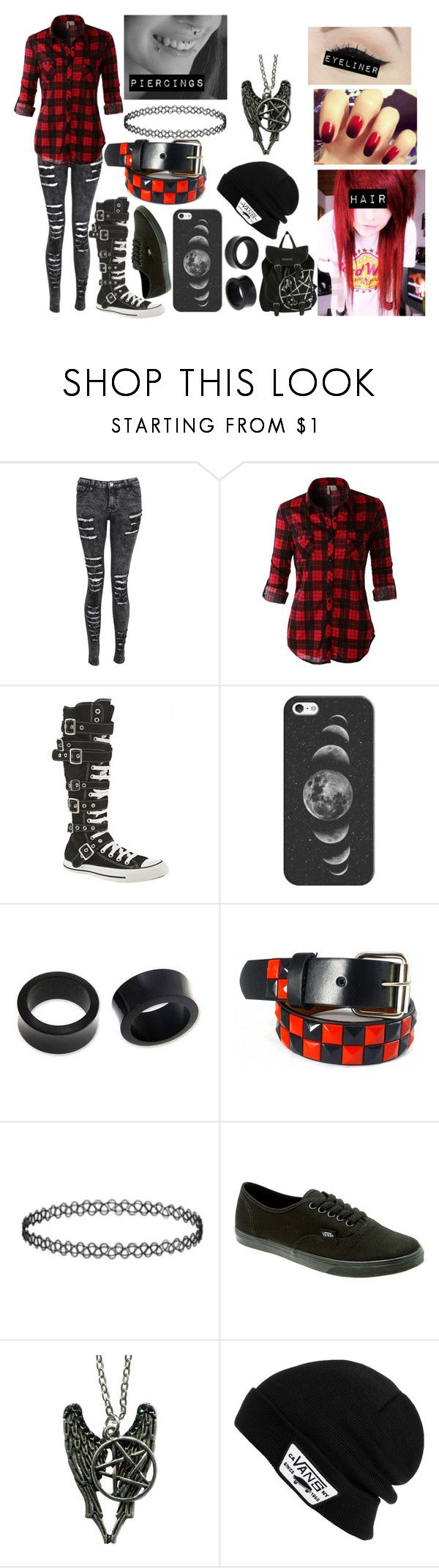 """Red Flannel Scene/Emo"" by abipatterson ❤ liked on Polyvore featuring LE3NO, Converse, Hot Topic, Casetify, NOVICA, Vans and Anatomy Of"