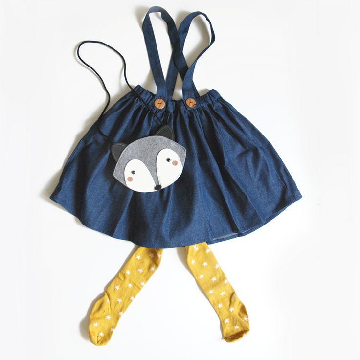 Milou & Pilou denim skirt and Mini dressing raccoon bag