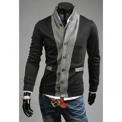 $13.43 Stylish Stand Collar Fabric Splicing Long Sleeves Cotton Blend Business Coat For Men