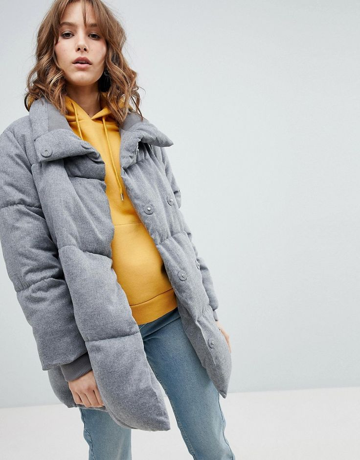 NEW LOOK PADDED QUILTED COAT - GRAY. #newlook #cloth #