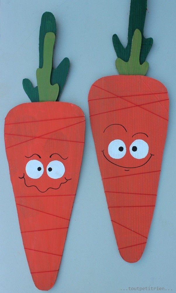 Carottes en carton et ficelle. www.toutpetitrien.ch et www.pinterest.com/fleurysylvie #bricolage #enfants