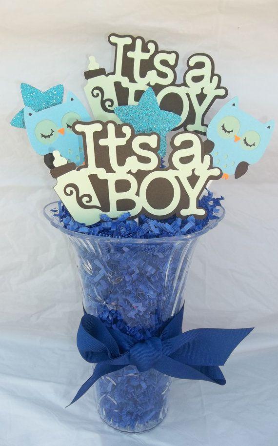 It's a boy centerpiece baby boy baby shower owl by JsCraftDesigns, $15