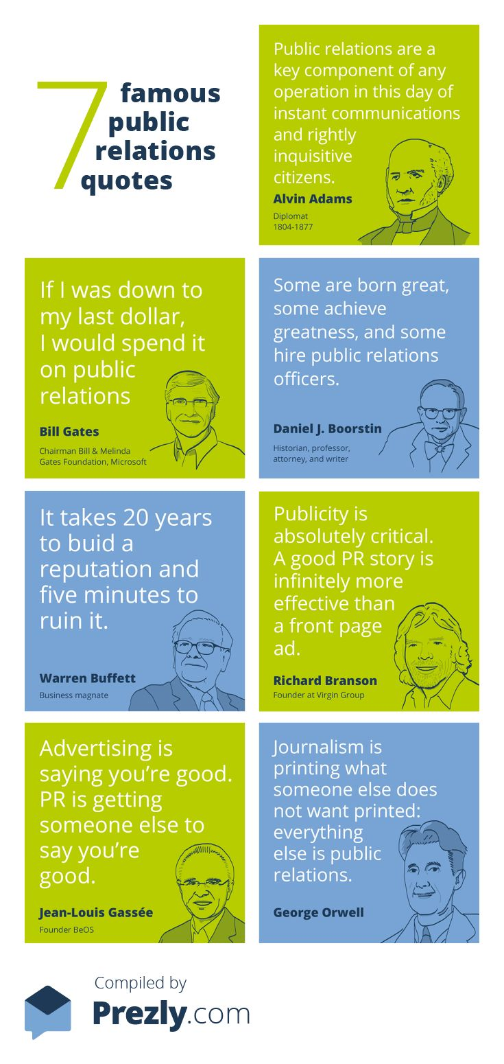 7 famous Public Relations quotes compiled by http://www.prezly.com