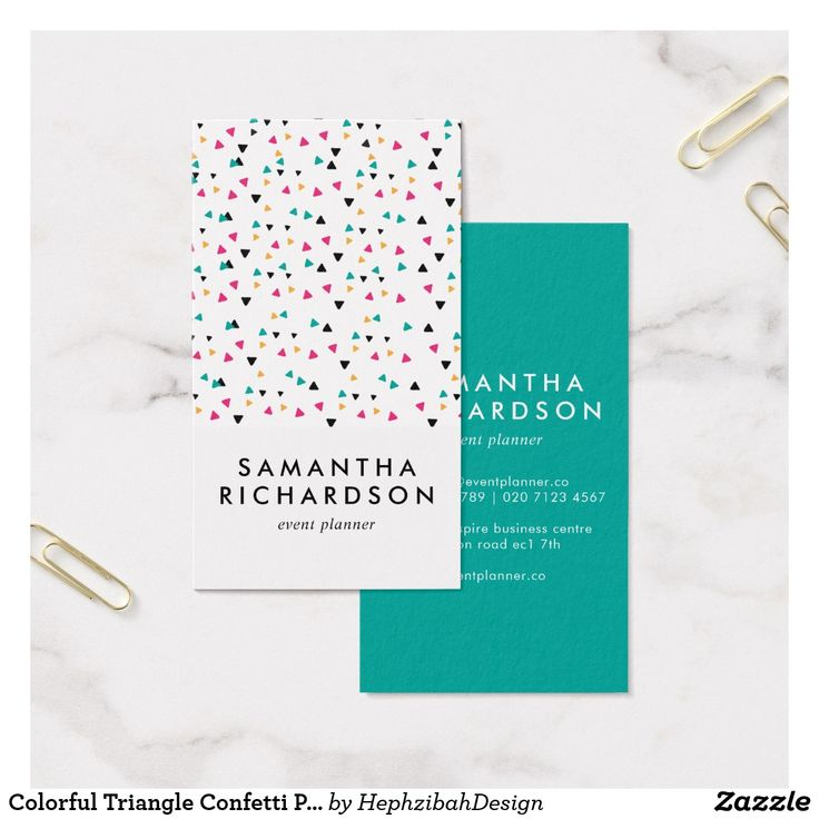 22 best geometric business cards images on pinterest 1st grades colorful triangle confetti pattern business card reheart Gallery