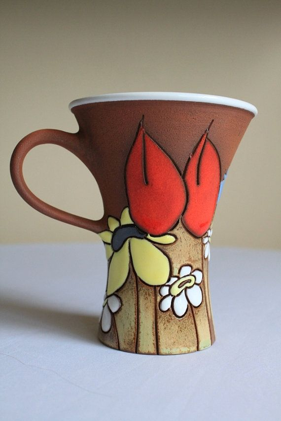 Teacup with flowers  conical shape by TerrysPotteryShop on Etsy, $26.00