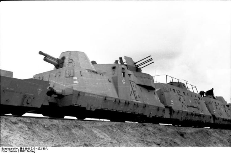 An armoured train with artillery and anti aircraft guns – operated by the Germans in the occupied territories of the East during 1942.