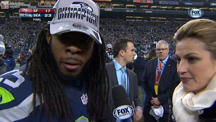 This article lists a variety of tweets from fans and the media that were posted in response to Richard Sherman's highly popularized post-game interview. It's interesting to see the mix of emotions people express - mostly through sarcasm and humor.