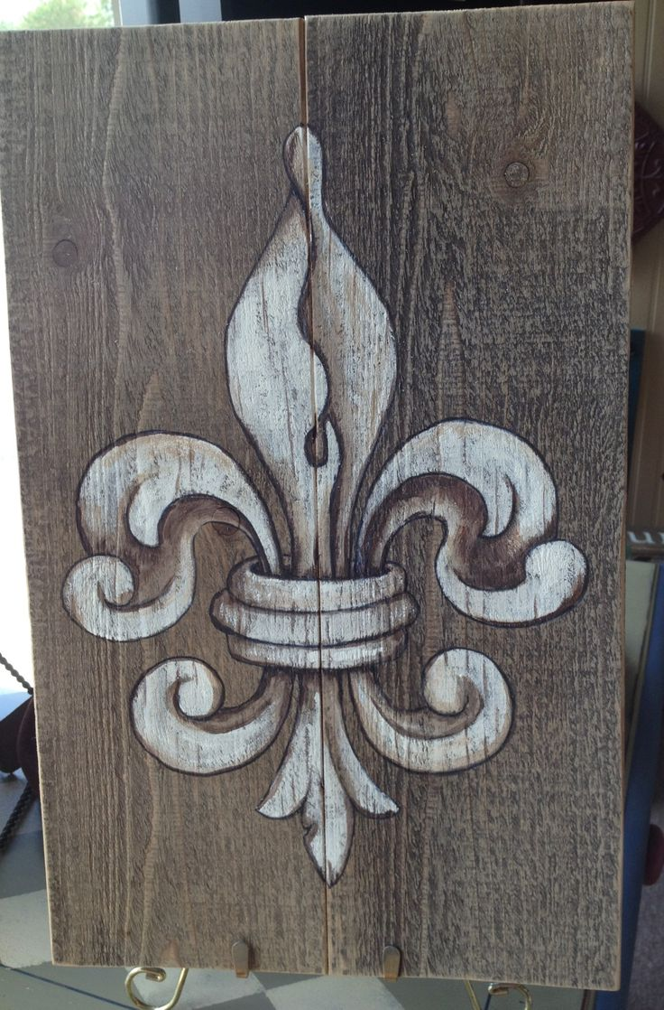 Fleur De Lis painting in acrylics on barn board