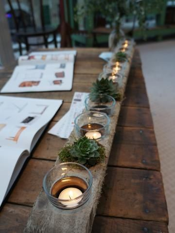 third table arrangment idea - sugar mold with candles, succulents & can fill in some peonies