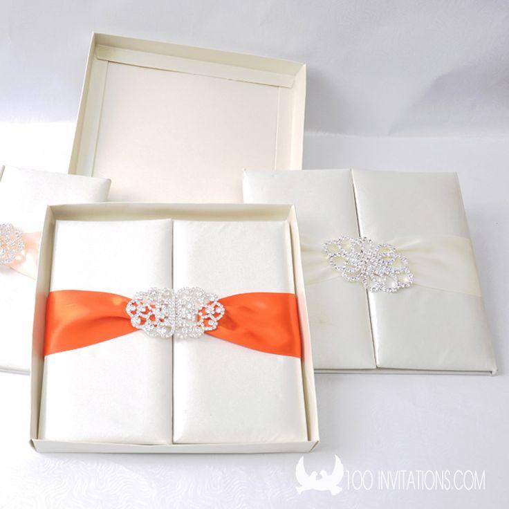 High End Silk Box Folio Wedding Invitations