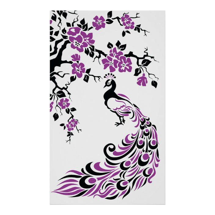 Black Purple Peacock And Cherry Blossoms Poster Zazzle Com Pink Peacock Poster Prints Cherry Blossom
