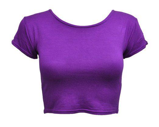 NEW LADIES WOMENS PLAIN BRA TEE CREW NECK SHORT SLEEVE CROP TOP VEST T-SHIRTS CROPPED APPAREL BLACK WHITE ROYAL BLUE MOCHA CORAL FUSHIA PURPLE RED GREY SIZE 8 10 12 (S/M(8-10), Purple)