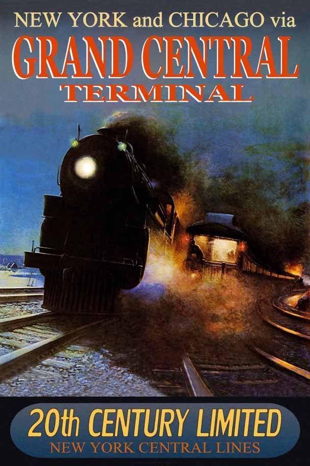 GRAND CENTRAL New York Central Railroad 20th CENTURY Train Poster Art Print 221 | eBay