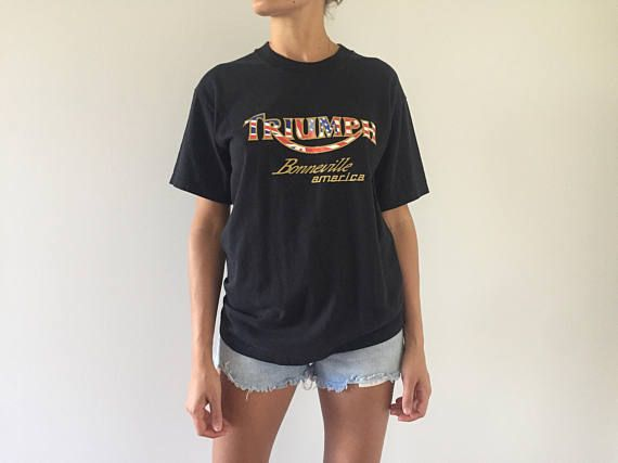 Vintage triumph black t shirt  mens ladies unisex soft worn