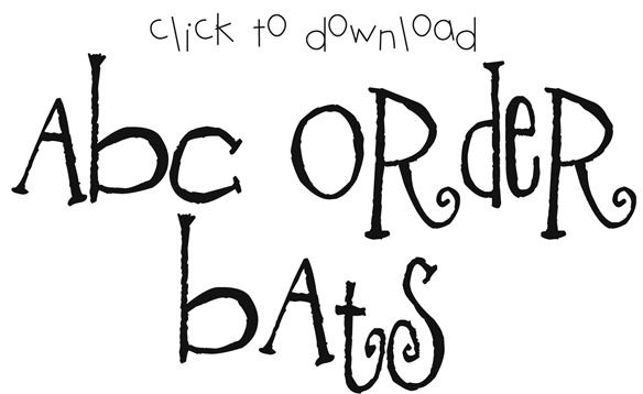 """ABC Order Bats Activity to go with the book """"Stellaluna"""" by Janell Cannon (link to free printable). Cut these word family bats {-ug, –un, –ut} out. Set out a clothesline and have the kids hang the bats {upside down} in ABC order."""