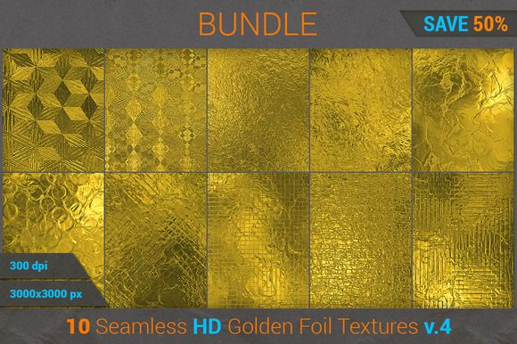 Golden Foil HD Texture Bundle (v 4) by Marabu Textures Store on @creativework247