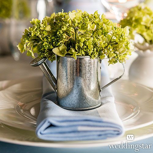 Love these Mini Watering Cans that double as wedding decor and adorable vases for a floral favor - WeddingStar
