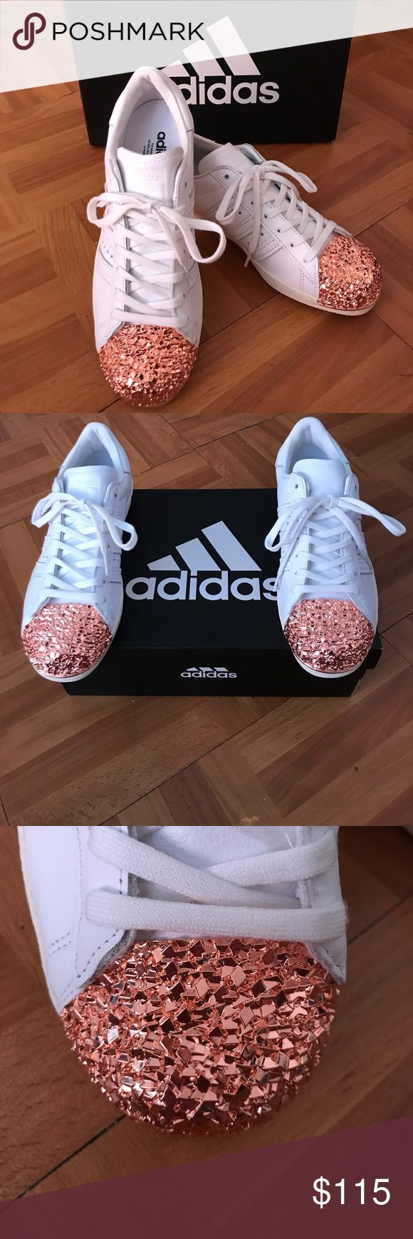 Adidas Superstar 80S 3D Rose Gold Metal Toe Adidas Superstar 80S 3D rose gold/bronze metal toe style number #bb2034. Brand new, no tags, comes with a box (not original box), shoes are stuffed with tissue paper to hold shape. No trades, willing to take offers! adidas Shoes Sneakers