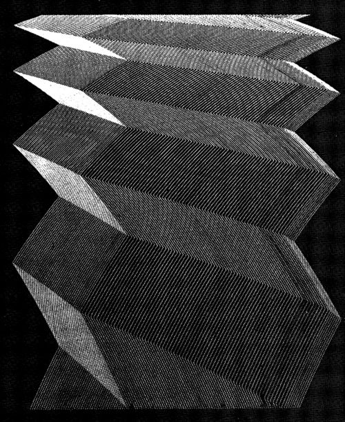 MAUGHAN S. MASON. COMPUTER-GENERATED GRAPHIC, 1960s. Mason visualized the desired pattern and then conceived a circuit arrangement which would produce the effect. He worked with an analogue computer in association with an XY plotter. The drawings were executed in black or colored inks.