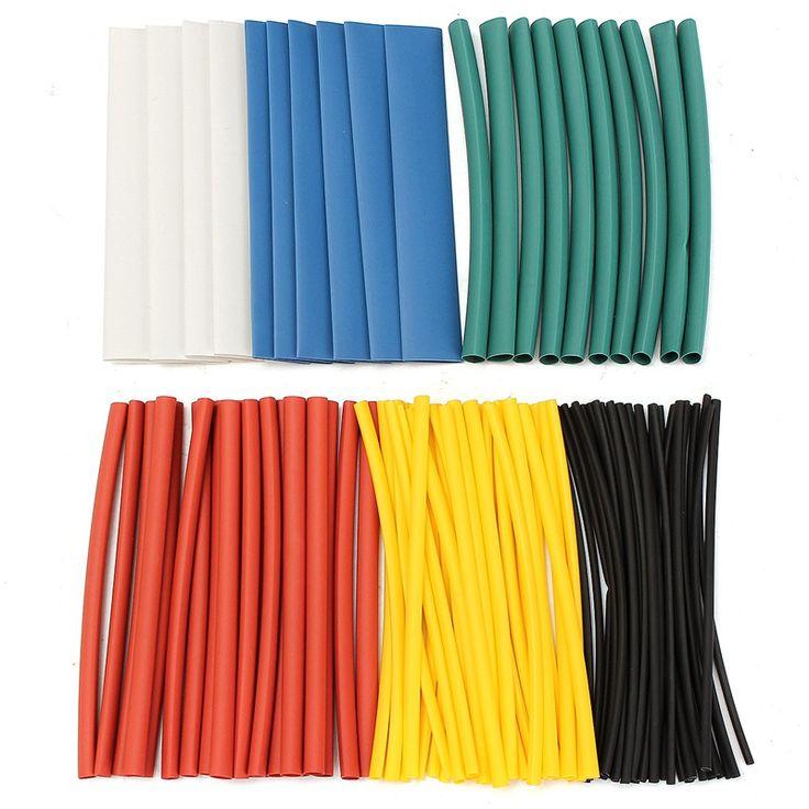 100 Pcs Aneka Bebas Halogen 2:1 Panas Kecilkan Tabung Tabung Sleeving Kabel Kawat untuk Wrap Kawat Set Tubing Wrap lengan