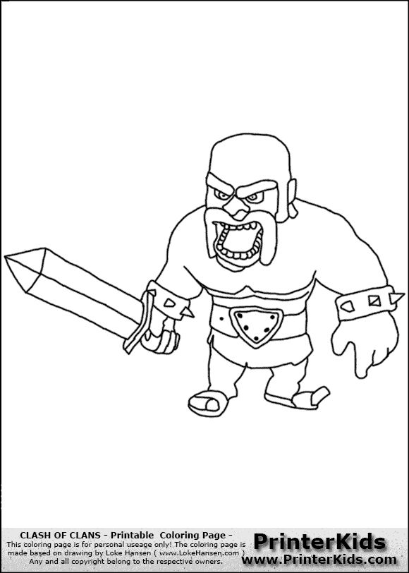 Clash Of Clans Barbarian 1 Coloring Page Clash Royal Clash