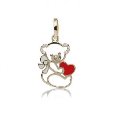 Золотая подвеска Мишка с сердцем