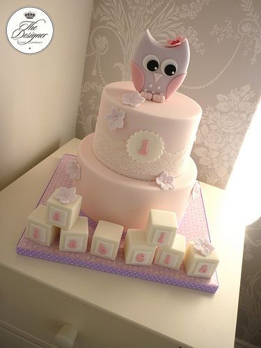 Owl 1st birthday cake....perfect for a baby girl!