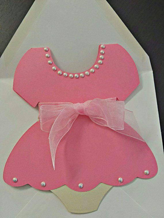 Baby Shower Invitation Dress Invitation Onesies Dress Invitat Onesie Baby Shower Invitations Handmade Baby Shower Invitations Baby Shower Invitation Cards