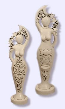 Pentacle Goddess Statue ... Raise Power. One side contains pentacle and Celtic knotwork designs. The other side shows steaming cauldron, triple moon, and triquetra. Above, the goddess embraces and guides the crescent moon and stars. Both images invite creativity and magical energy. A wonderful other wordly focus for meditation.