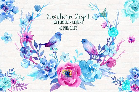 Hand Painted Watercolor clipart Northern Light Collection  Hand painted watercolor mint, blue and purple peonies, birds, mint leaves and decorative