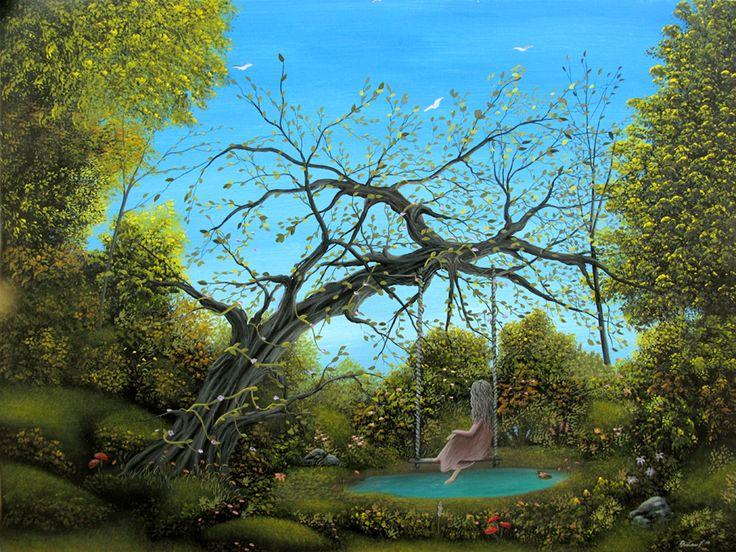 surrealism swings | ... Fantasy Gothic Landscape Girl ...