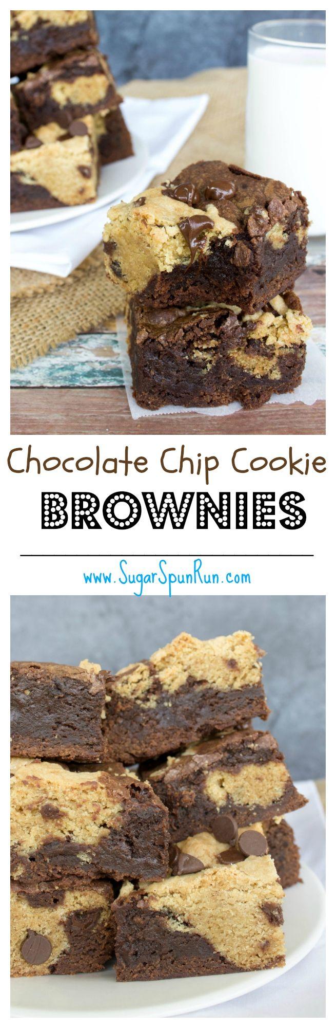 Chocolate Chip Cookie Brownies--the fudgiest best brownie recipe ever!  SugarSpunRun