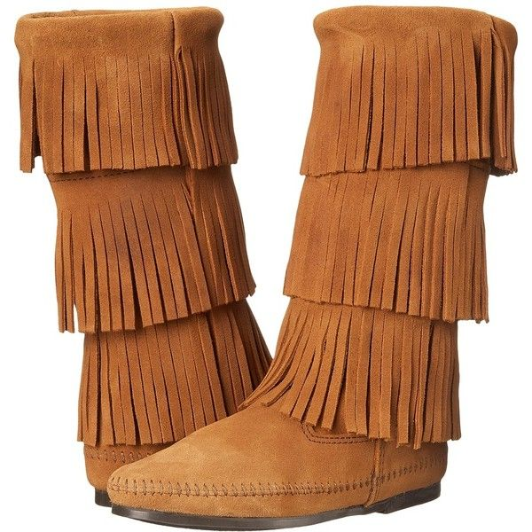 Minnetonka Calf Hi 3-Layer Fringe Boot Women's Pull-on Boots ($94) ❤ liked on Polyvore featuring shoes, boots, mid-calf boots, slip on boots, lightweight boots, long boots and mid calf fringe boots