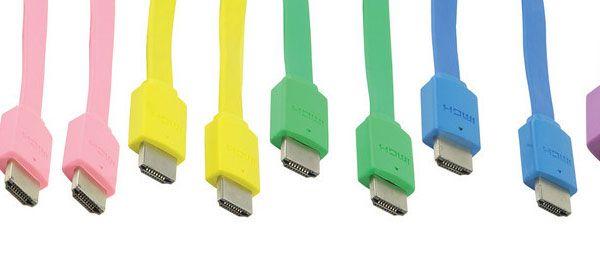 Cabos HDMI 4K da Bandridge em todas as cores do arco-íris