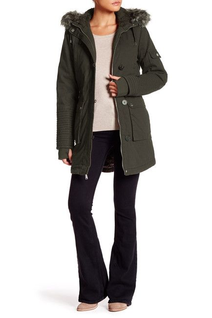 Image of BCBGeneration Faux Fur Hooded Jacket