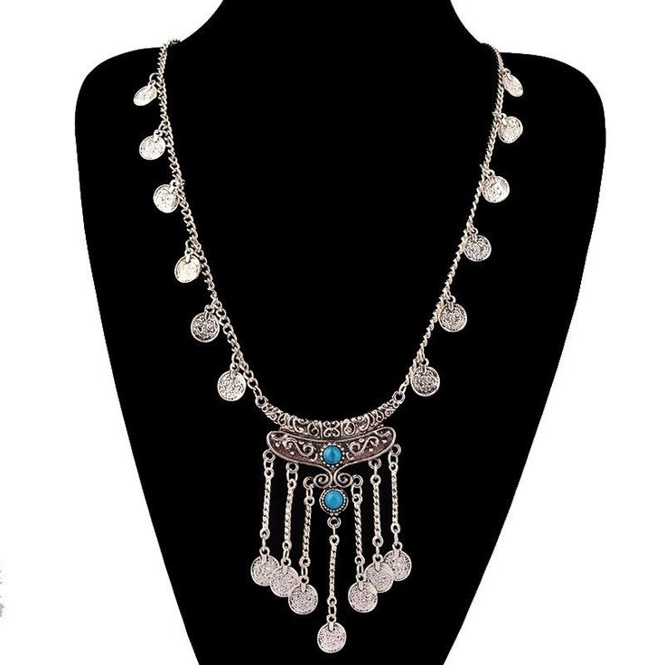 $15 Classic Bohemian Silver Coin Turquoise Gem Necklace