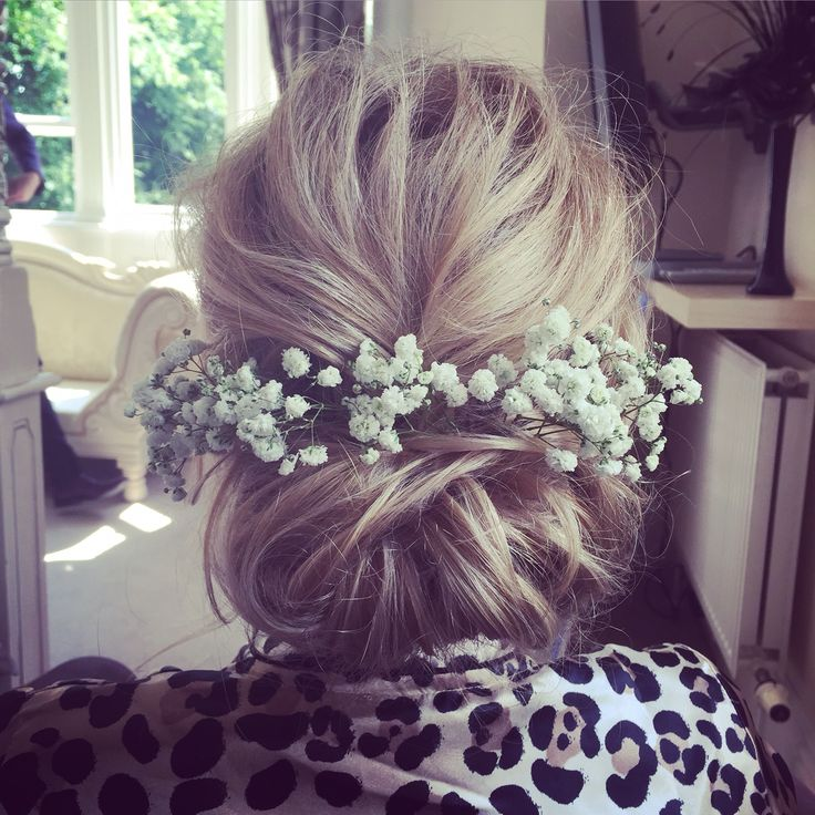 Soft romantic bridal hair up do incorporating beautiful fresh flowers  www.victoriafarr.co.uk/images-portfolio