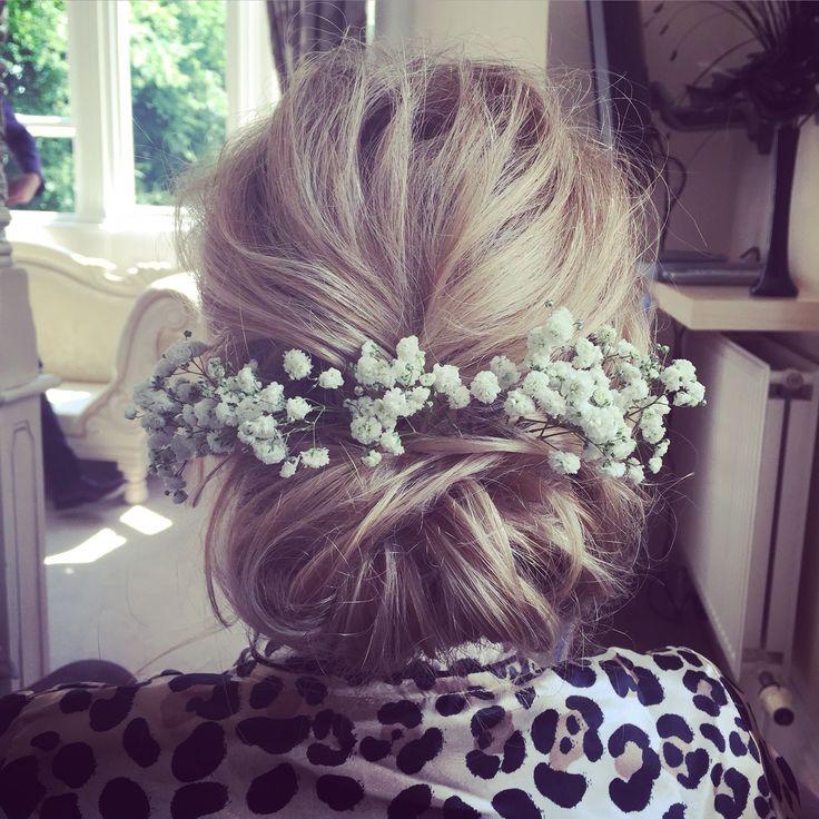 Soft romantic bridal hair up do incorporating beautiful fresh flowers  www.victoriafarr.co.uk/images-portfolio