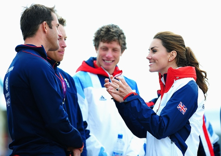 Catherine, Duchess of Cambridge meets Finn class gold medal winner Ben Ainslie of Great Britain on Day 10 of the London 2012 Olympic Games at the Weymouth & Portland Venue at Weymouth Harbour on August 6, 2012 in Weymouth, England. (Photo by Laurence Griffiths/Getty Images)