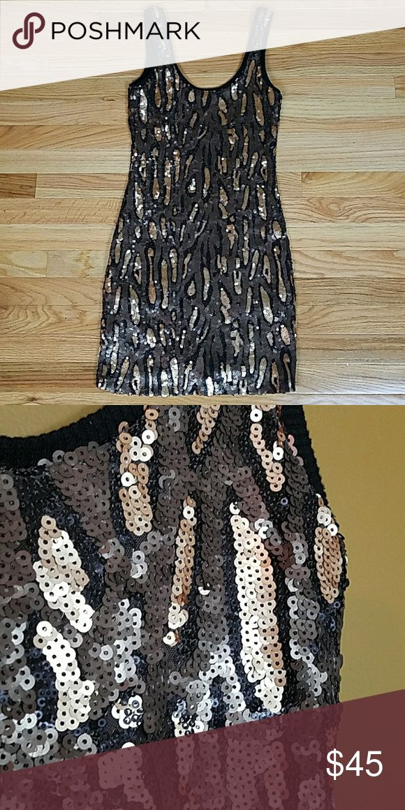 [Willow & Clay] Black and Gold Sequin Dress Fancy tank dress with black and gold sequins. Animal print. Perfect for holiday party. Christmas party. Work party. Bust: 14, Length: 33 inches. Excellent condition. (AA4) Willow & Clay Dresses