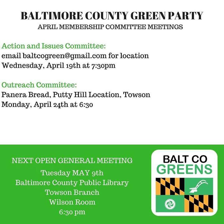 The Baltimore County Green Party is looking to expand its membership. Join us as we organize to grow influence policy and run Green Party candidates. #mdgreens #bcogp #baltimorecounty #md #baltimore #demexit #gogreen2017   http://ift.tt/2ozkdAj