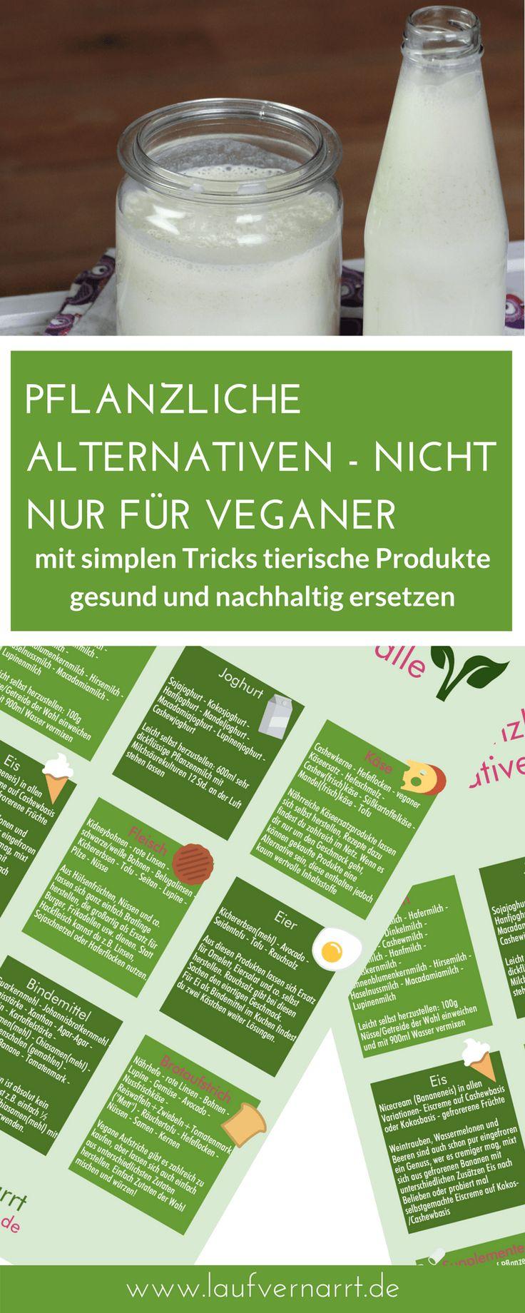 Pflanzliche Alternativen sind nicht für Veganer ein Thema. Für nahezu alle tierischen Lebensmittel findest du hier im praktischen Printable einen veganen Ersatz!