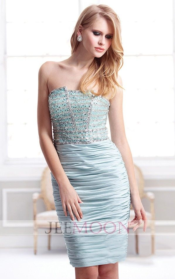 Strapless Sheath/Column Short/Mini Blue Taffeta Party Dress