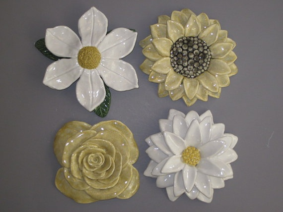 Giant ceramic flower wall hanging sculptures of by CoastalCeramics, $125.00