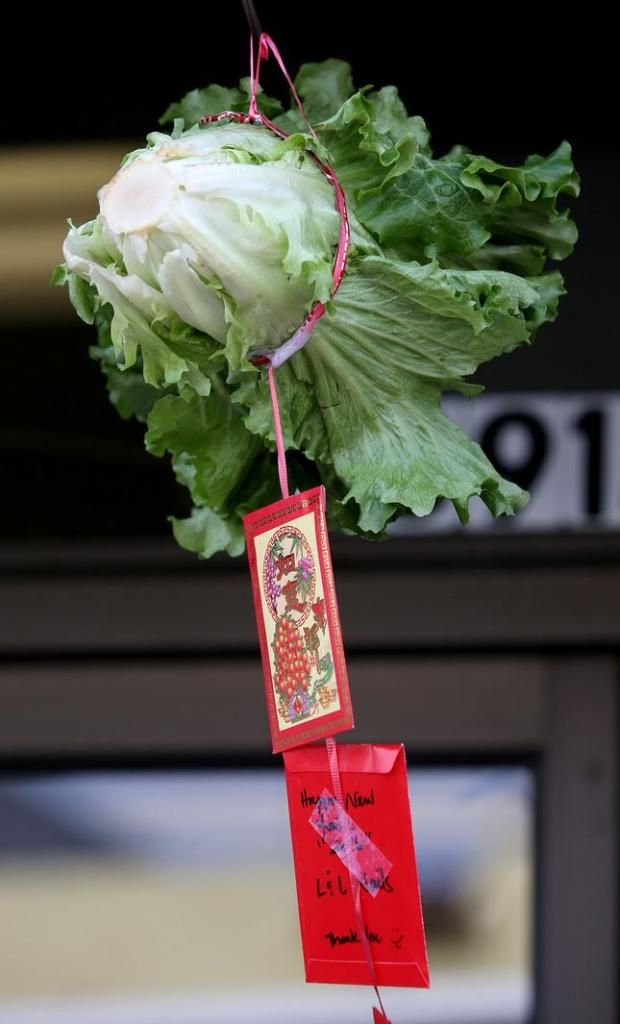 An Offering Of Lettuce And Several Cards Are Seen As Lion Dancers From The Buk Sing Kung Fu Academy In Fremont Take Part In Lunar New Year 2020 Newyear Oakland