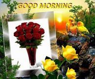Good Morning Quote With Flowers And Birds
