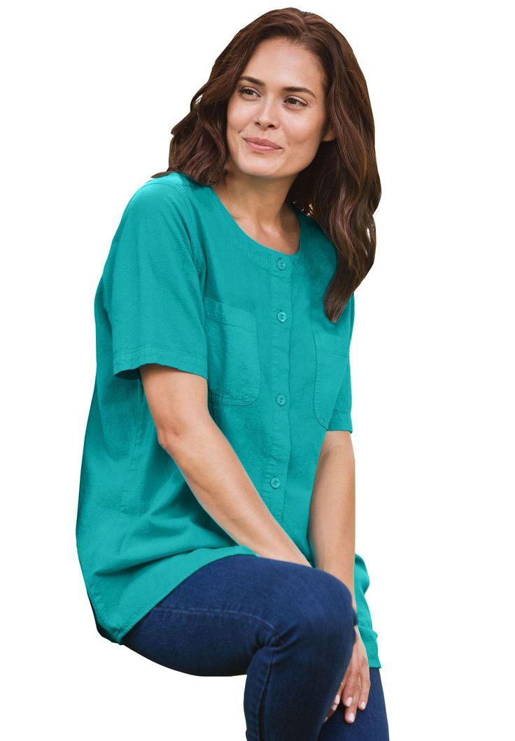 Petite crinkle cotton shirt - Women's Plus Size Clothing