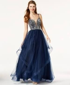 eb0750873 Say Yes to The Prom Juniors' Embellished Tulle Gown, Created for ...