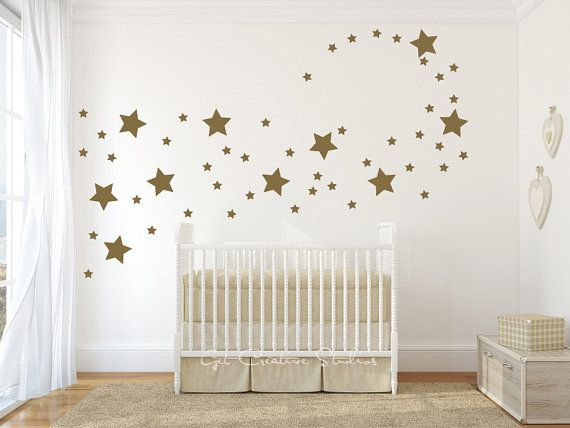 Stars Decal Star Wall Decals Shape Disney Magical Star Baby Room Twinkle Little Star Fairy Sparkle Stars Gold Metallic 2 sizes Star Decal